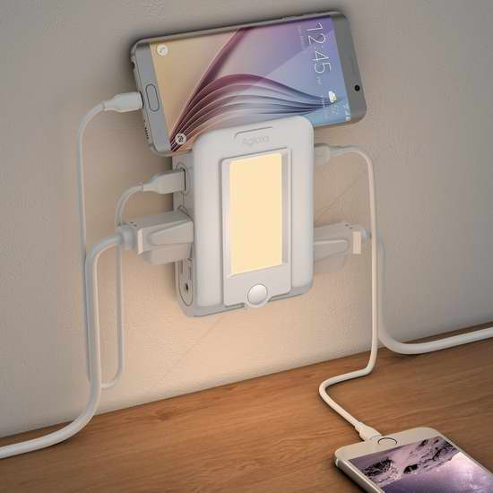 Aglaia 多功能LED光感应夜灯+2 USB充电+4口插座 21.99加元限量特卖!