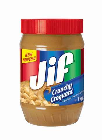新款 JIF 杰夫 颗粒/柔滑 花生酱1公斤装 3.97加元!2款可选!