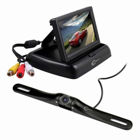 Esky 4.3英寸车载高清超大广角 倒车后视监视器 29加元限量特卖并包邮!