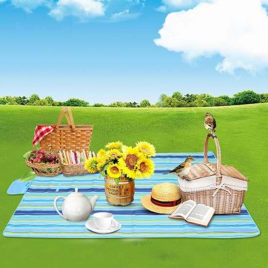 Haperlare 户外防水野餐垫 29.94加元包邮!送价值17.99加元剥蒜器+不锈钢压蒜器!2色可选!