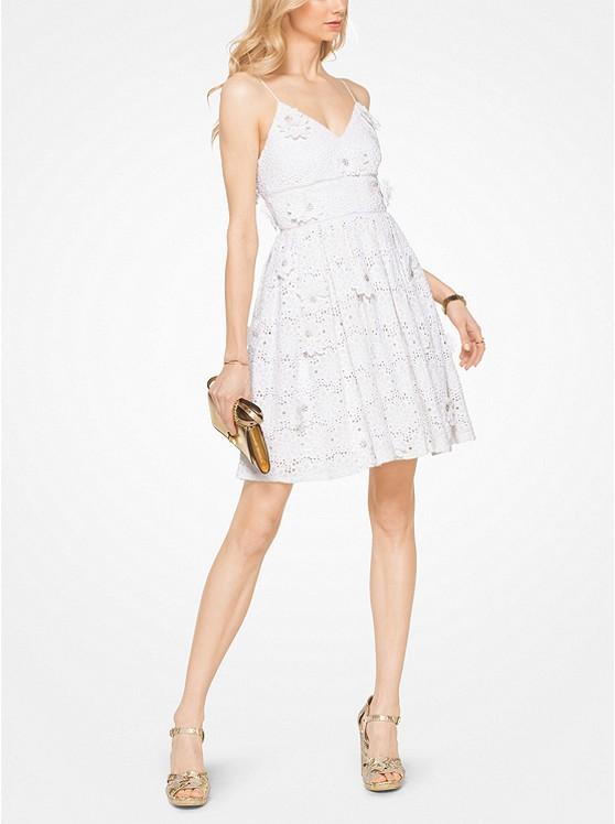 减龄魔法棒!Michael Kors 花卉贴花蕾丝棉连衣裙 224.25加元,原价 595加元,包邮