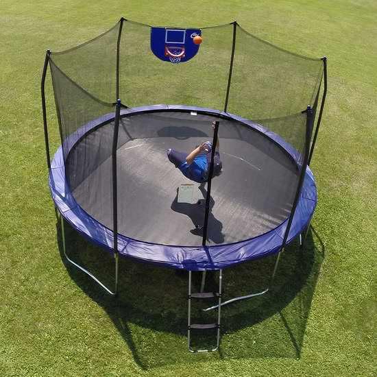 逆季清仓!Skywalker Trampolines Jump N' Dunk 12英尺带保护罩+篮球框 封闭蹦床 234.68加元包邮!会员专享!