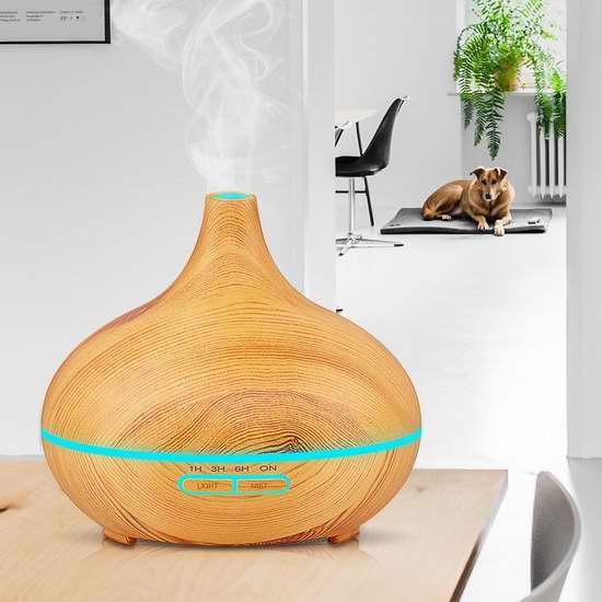 KBAYBO 300毫升木纹超声波香薰/精油雾化加湿器 27.19加元限量特卖!