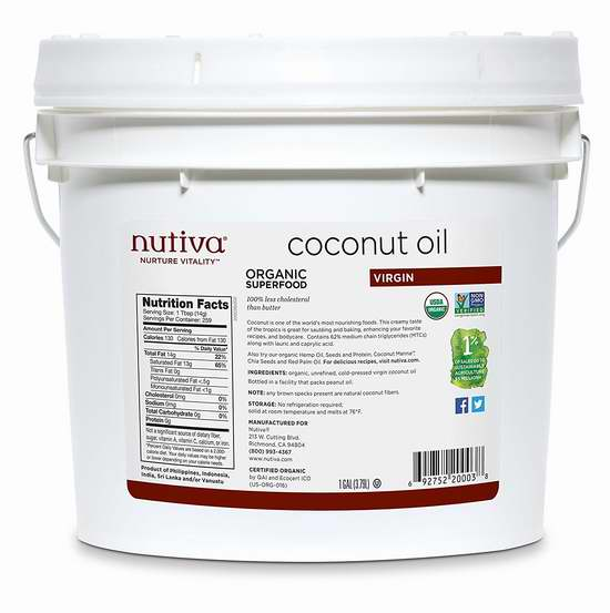 纯天然有机!Nutiva Organic 有机初榨椰子油(3790ml) 73.44加元限量特卖并包邮!