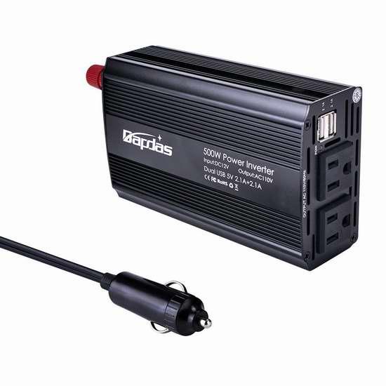 Bapdas 500W 双口USB充电 车载变压器 35.99加元限量特卖并包邮!会员专享!
