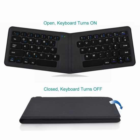 Proster 人体工学 超薄折叠式蓝牙无线键盘 32.79加元限量特卖并包邮!会员专享!