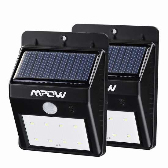 Mpow 8 LED 太阳能运动感应灯2件套 22.99加元限量特卖并包邮!会员专享!