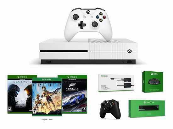 历史新低!Xbox One S 500GB 游戏机+双手柄+体感器+键盘+适配器+3游戏套装 329.99加元包邮!会员专享!