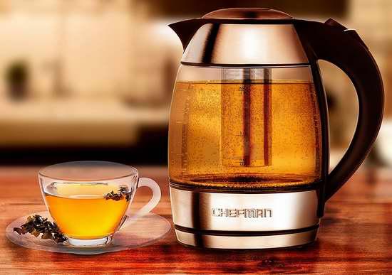 金盒头条:Chefman RJ11-17-TI 1.8升 烧水/泡茶二合一 玻璃电热水壶 56加元包邮!