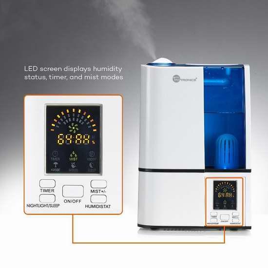 金盒头条:TaoTronics TT-AH001 4升大容量 零噪音超声波冷雾加湿器3.3折 46.45-49.99加元包邮!3色可选!