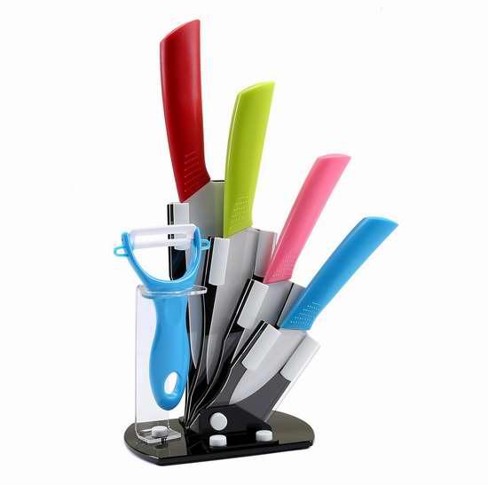 FSDUALWIN 彩色手柄陶瓷刀具+亚力克刀架6件套 20.99加元限量特卖!
