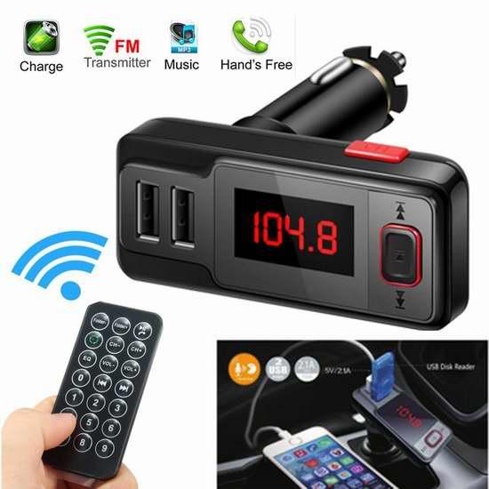Archeer 无线蓝牙车载FM调频转换器+免提电话+双口USB充电 12加元清仓!