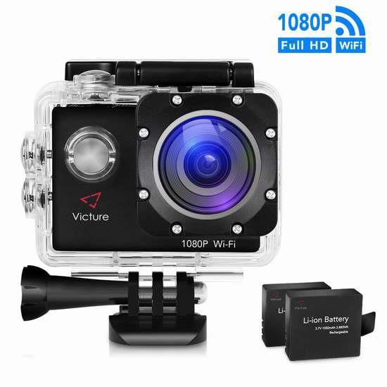 Victure 1080P 14MP 全高清超大广角WIFI运动摄像机+双锂电池 63.74加元限量特卖并包邮!