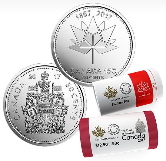 150周年国庆特别版 50分纪念币2x25枚 49.95加元销售!
