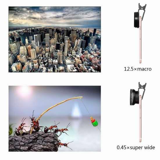 ARCHEER 鱼眼广角+微距 通用手机镜头 8加元!