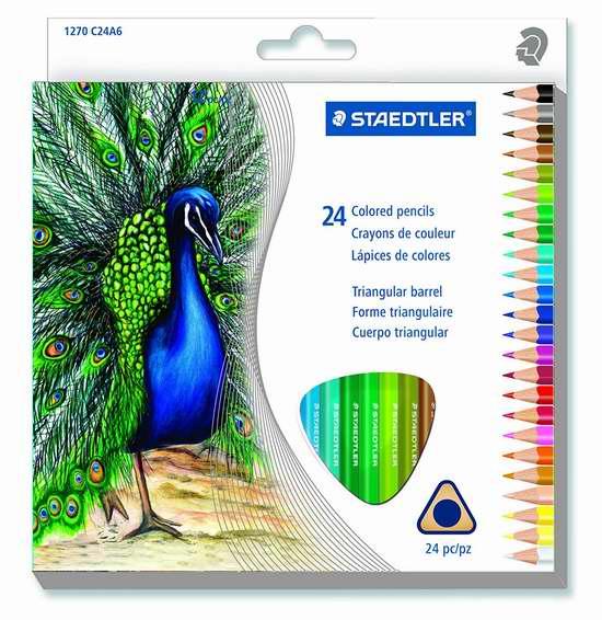 历史新低!STAEDTLER 三角彩色铅笔24支装 3.97加元!