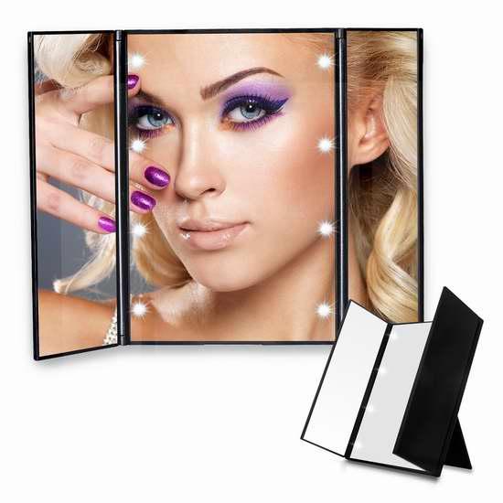 历史新低!Bigear 三折式LED照明化妆镜5.7折 16.99加元!