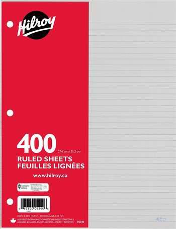 白菜价!历史新低!Hilroy Ruled 3孔活页纸400张0.8折 0.97加元!