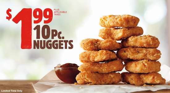 Burger King 汉堡王 10个炸鸡块仅需1.99加元!Mix & Match任选2个汉堡仅需6加元!