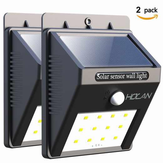 Holan 12 LED 太阳能防水运动感应灯2件套 18.39加元限量特卖!