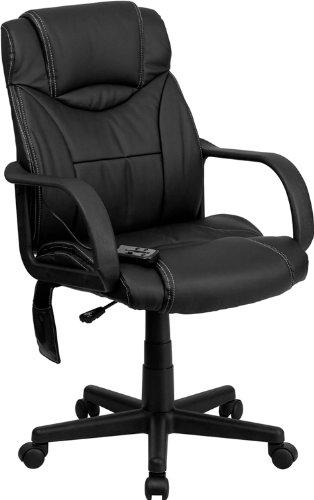 历史新低!Flash Furniture BT-2690P-GG 多功能按摩 高靠背真皮旋转办公椅4.2折 86.54加元包邮!