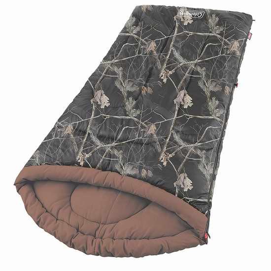 Coleman 2000020913 加宽加高迷彩户外睡袋3.4折 47.88加元包邮!