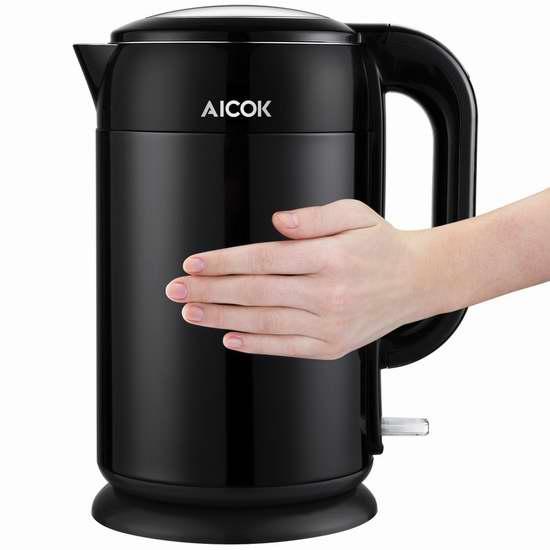 Aicok 1.7升全不锈钢双壁保温 黑色电热水壶4.5折 40.78加元包邮!
