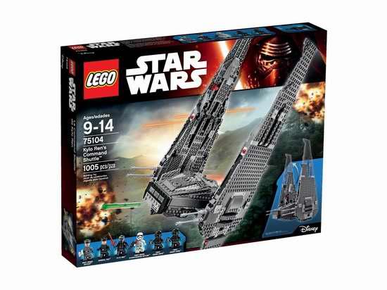 LEGO 乐高 75104 星球大战 Kylo Ren穿梭机 89.99-99.99加元(1005pcs),原价 149.99加元,包邮!