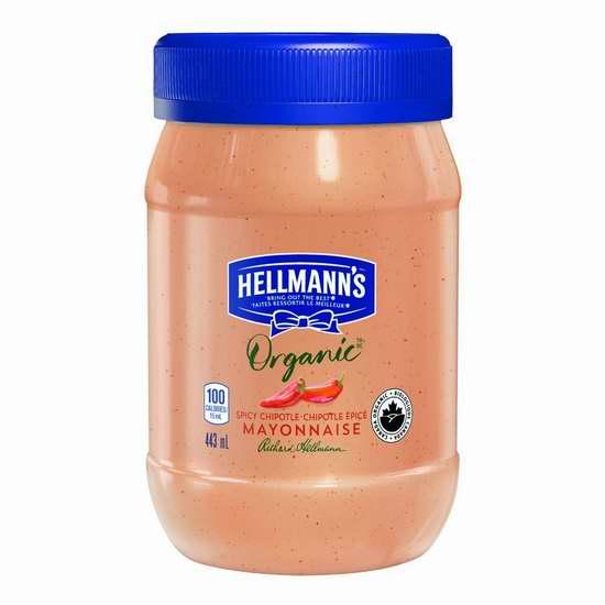 历史新低!HELLMANN'S 有机香辣蛋黄酱(443ml)2.8折 2.97加元!