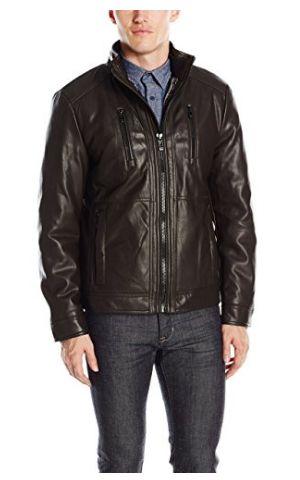 Calvin Klein 男式时尚人造革皮夹克1.8折 54.51加元起包邮!