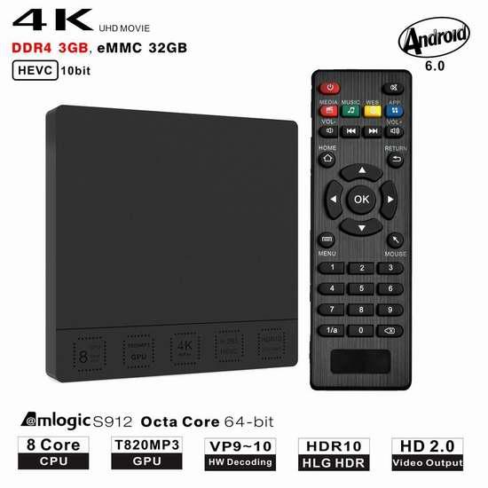 PLATER Mini M8S+ 双频WiFI流媒体播放器/网络电视机顶盒(3G/32G) 101.91加元限量特卖并包邮!