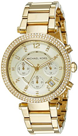 历史新低!Michael Kors Parker MK5354 金色三眼计时水晶腕表/手表4.9折 148.34加元包邮!