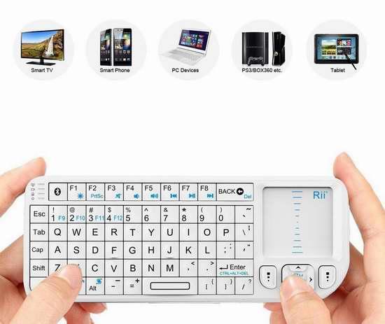 Rii k02 迷你蓝牙背光无线键盘,带触控板 25.49加元限量特卖!
