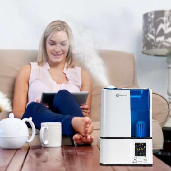 手慢无!TaoTronics TT-AH001 4升大容量 零噪音超声波冷雾加湿器3.5折 48.99加元包邮!