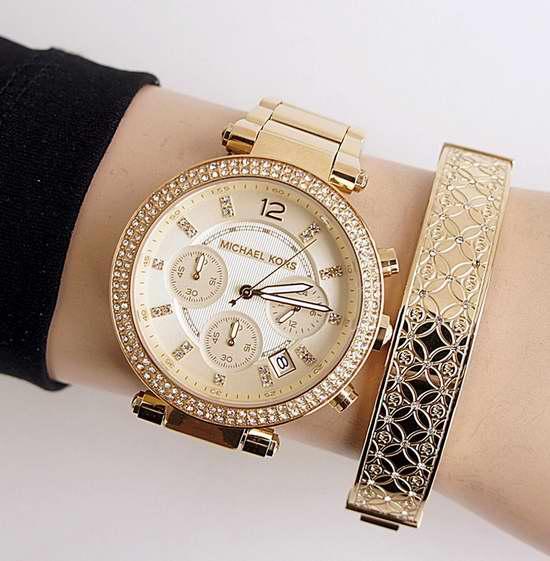 近史低价!Michael Kors Parker MK5354 金色三眼计时水晶腕表/手表4.1折 137.2加元包邮!
