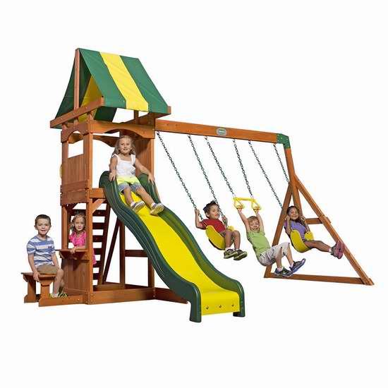 历史新低!Backyard Discovery 65113 Weston 实木儿童秋千组合 651.79加元包邮!