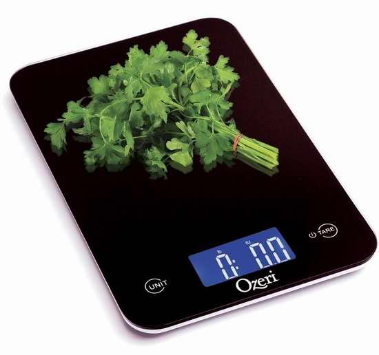 Ozeri Touch 专业数字式钢化玻璃厨房秤3.1折 10.95加元清仓!