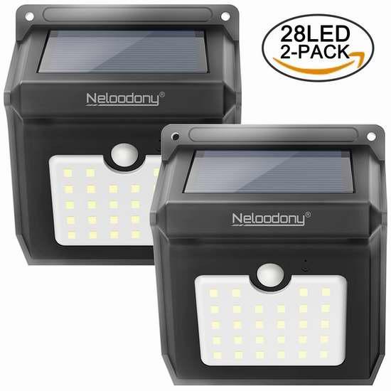 Neloodony 28 LEDs 超亮太阳能防水运动感应灯2件套 13.59加元!
