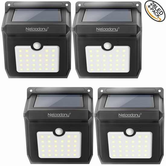 销量冠军!Neloodony 28 LEDs 超亮太阳能防水运动感应灯4件套 29.99加元限量特卖并包邮!