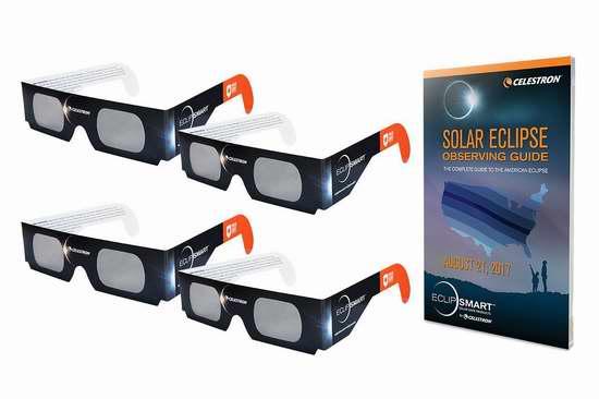 8月21日加拿大将现日偏食!Celestron 星特朗 EclipSmart 超级太阳观察眼镜套装 15.33加元!