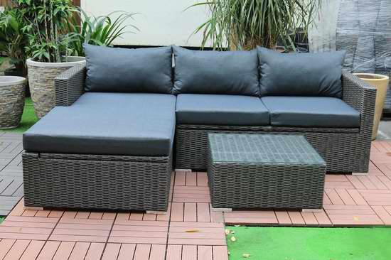 逆季清仓!Patioflare PF-CS290PS-BK Emmett 仿藤条编织 庭院软垫沙发+茶几套装2.7折 505.15加元包邮!