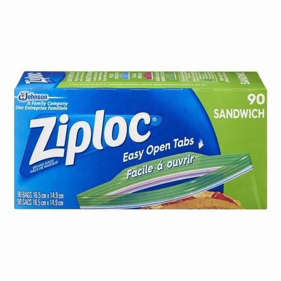 历史新低!Ziploc 三明治/零食保鲜袋90个装4.8折 1.77加元!