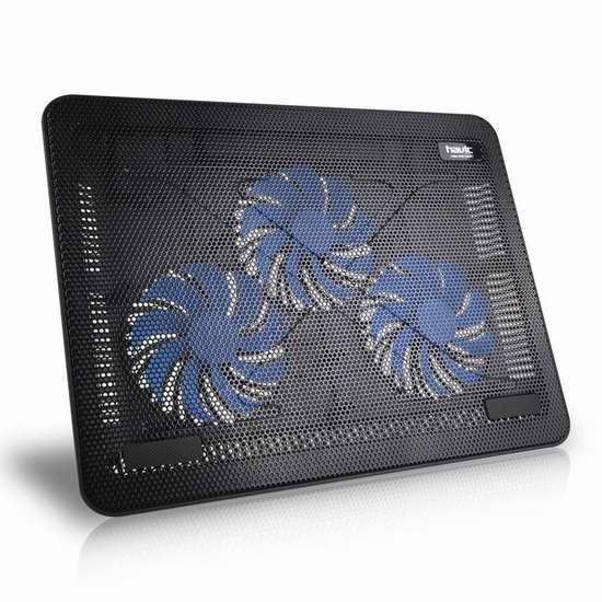 HIRALIY 15-17英寸超薄静音三风扇笔记本散热垫 16.99加元限量特卖!