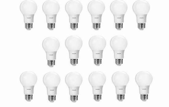 历史新低!Philips 飞利浦 60瓦等效 LED节能灯16件套5.2折 35.16加元包邮!