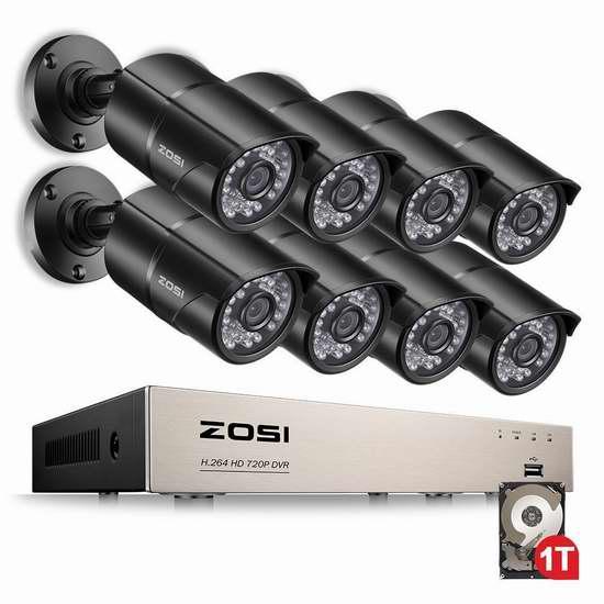 ZOSI 8CH HD-TVI 1080N 720P 8路高清监控系统+1TB硬盘套装 180.99加元限量特卖并包邮!