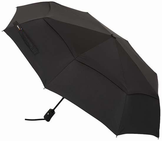历史新低!AmazonBasics 黑色折叠式 双层抗强风 自动雨伞6.1折 17.1加元!