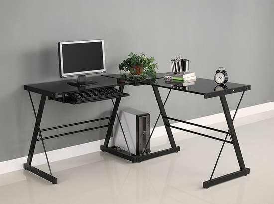 近史低价!Walker Edison Soreno L型时尚钢化玻璃办公桌4.7折 130.9加元包邮!