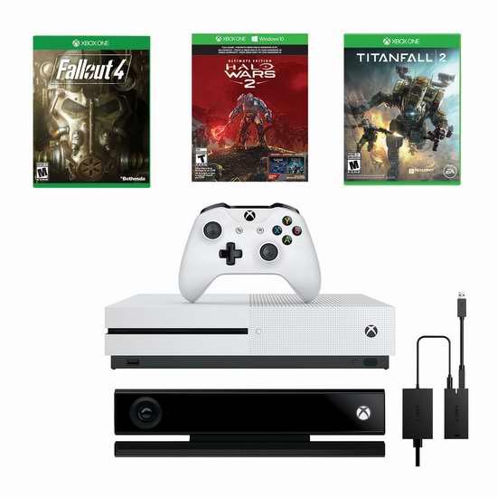 Xbox One S 1TB 游戏机+ Kinect +光环战争2+辐射4+泰坦降临2 超值套装5.7折 379.99加元包邮!