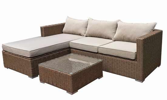 金盒头条:Patioflare PF-CS290PS-BR Emmett 仿藤条编织 庭院软垫沙发+茶几套装3.5折 649.99加元包邮!两色可选!