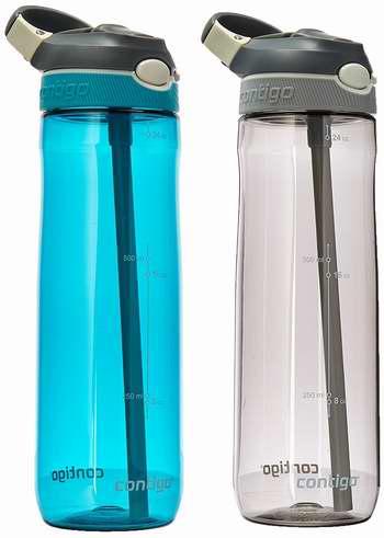 历史新低!Contigo 康迪克 Autospout 750ml 运动冷饮吸管水杯2件套4.2折 17.28加元!